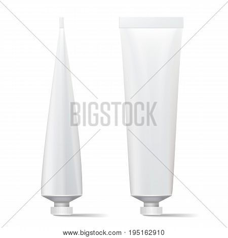 Tube Vector Mock Up. Clean Template. Blank Plastic Tube Of Cream, Shampoo, Tooth Paste, Glue