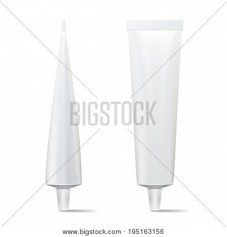 Tube Vector Mock Up. White Blank Tube Of Cream, Gel, Soup, Foam, Shampoo. Modern Packaging