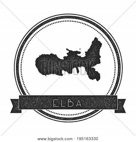 Elba Map Stamp. Retro Distressed Insignia. Hipster Round Badge With Text Banner. Island Vector Illus