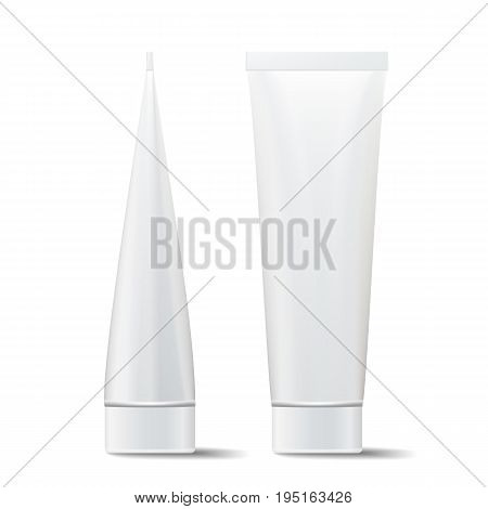 Tube Vector Mock Up. Cosmetic White Plastic Tube Packaging Realistic Illustration. Isolated