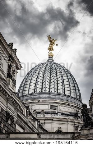 Cupola of the Albertinum and beautiful cloudy sky. Museum of Modern Art. Dresden, Germany