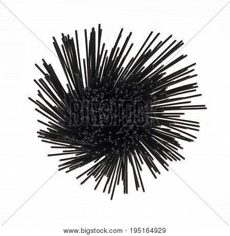 Over head view of squid ink black spaghetti on a white isolated background in a round spiral format.