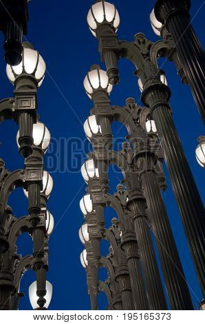 Street light on the background of blue sky