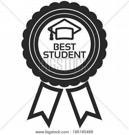 Simple Vector Icon of a classic encouragement badge in line art style. Pixel perfect. Basic education element. School theme. Back to college.