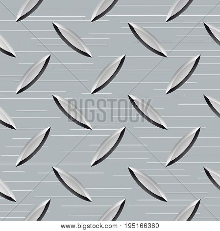 Steel metal floor with rhombus shapes background texture.