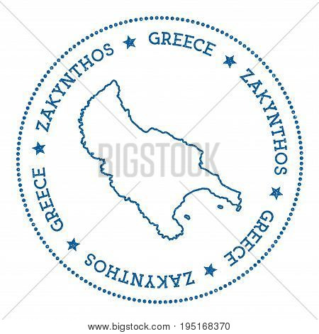 Zakynthos Island Map Sticker. Hipster And Retro Style Badge. Minimalistic Insignia With Round Dots B