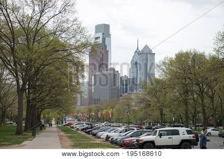 PHILADELPHIA, PA - APRIL 19: View of Benjamin Franklin Parkway from the Philadelphia Museum of Art with Center City skyscraper buildings in the background on April 19, 2013