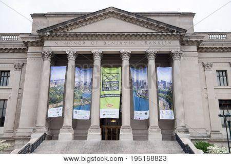 PHILADELPHIA, PA - APRIL 19: View of Exterior of Benjamin Franklin Institute, Philadelphia on April 19, 2013