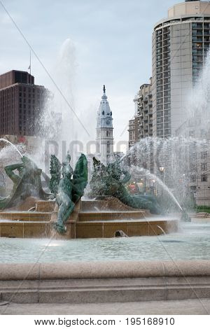 PHILADELPHIA, USA - APRIL 19: View of Swann Fountain in Logan Square on Benjamin Franklin Parkway in Center City Philadelphia on April 19, 2013. Adapting the tradition of a river god sculpture figures symbolize major streams, the Delaware, the Schuylkill,
