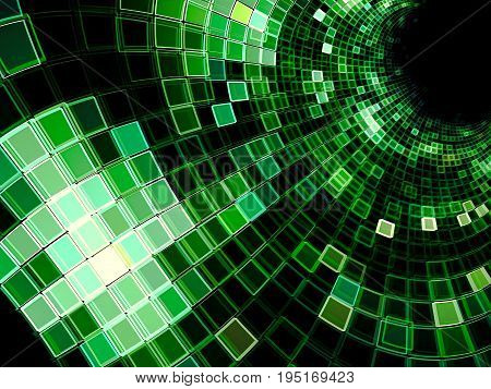 Matrix tunnel - abstract computer-generated image. Sci-fi, hi-tech or virtual reality fractal background. Chaos grid with light effects.