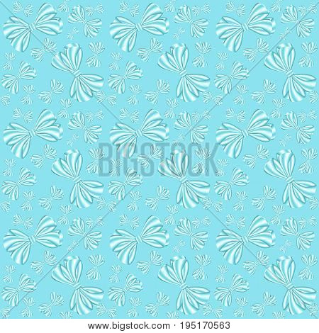 Seamless pattern with bows from ribbons on a blue background can be used as a print for textiles children's and women's clothes and bed-clothes wrapping paper