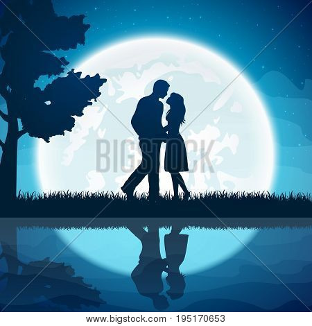 Silhouette of two enamored with Moon on the night sky background, illustration.