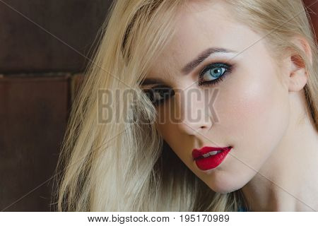 Woman With Red Lips On Pretty Face