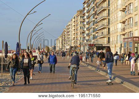 Promenade Of The Belgian Seaside Resort De Panne