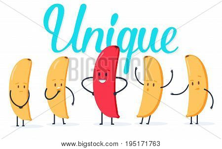 Minimalist stile red banana changing color and yellow ones. New idea, change, trend, courage, creative solution, innovation and unique way concept. Vector illustration