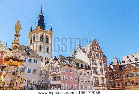 Historic House Facades Main Market Trier Rhineland Palatinate Germany