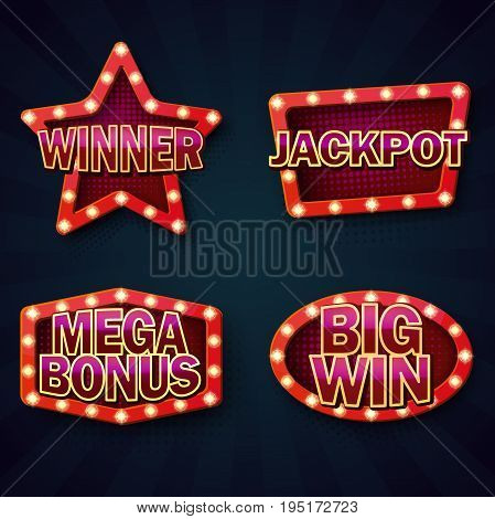 Set of isolated signboard template with winner, jackpot and bonus signs. Neon illuminated frame for night casino advertising, bright billboard with glowing bulbs for show ads. Entertainment, gambling