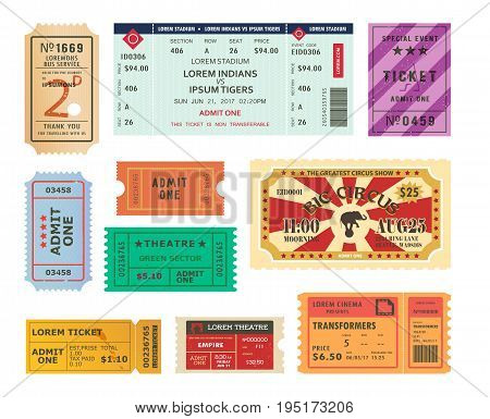 Set of isolated retro tickets for cinema or theater, circus or movie hall, entertainment and concert performance. Retro or vintage torn coupon for movie or film seats at premiere,