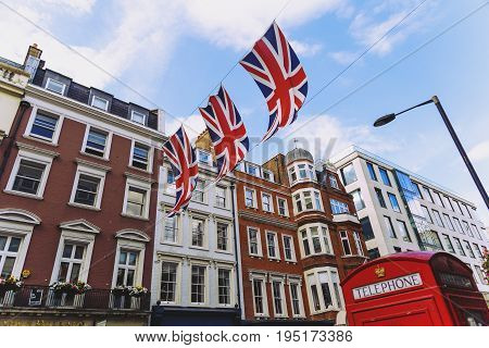 LONDON UNITED KINGDOM - August 12th 2016: Detail of Bruton Street in the affluent area of Mayfair in London city centre