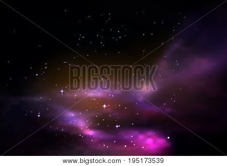 Universe or galaxy, space or cosmos wallpaper background. Infinite outer space with stars and milky way, shining dust or gas cloud. Astronomy science and astrology, abstract planetarium theme poster