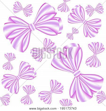 Seamless pattern from pink ribbon bows on a white background can be used as a print for textiles children's and women's clothes and bed-clothes wrapping paper
