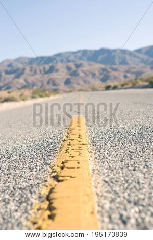 Close-up of desert road