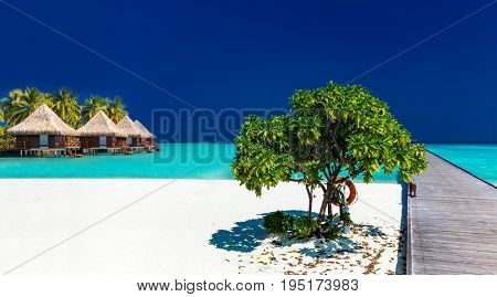 Beautiful tropical sandy beach with wodden jetty and over water villas