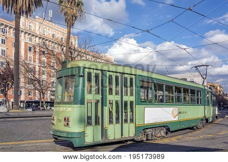 Rome Italy february 11 2017: ancient tram moving in Piazza Risorgimento in Rome Italy