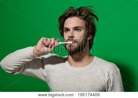 Dental Health Of Metrosexual Man Brush Teeth With Toothpaste