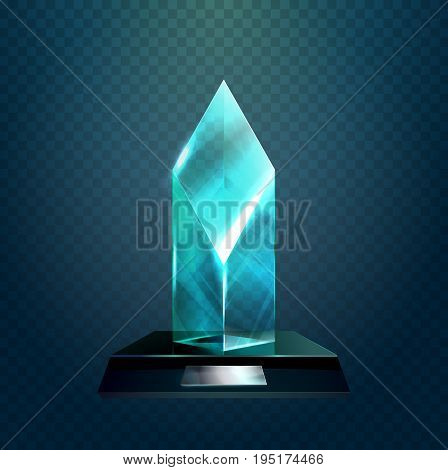 Winner trophy or transparent rhombus cup, award or achievement, crystal badge for championship prize. Sport sign or competition, championship badge, winner or leadership, pedestal ceremony theme