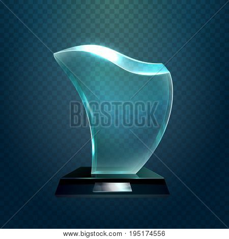 Glass cup or transparent glassware trophy award, prize or achievement glossy crystal. Championship and leadership, sport sign or success symbol, champion or winner ceremony theme