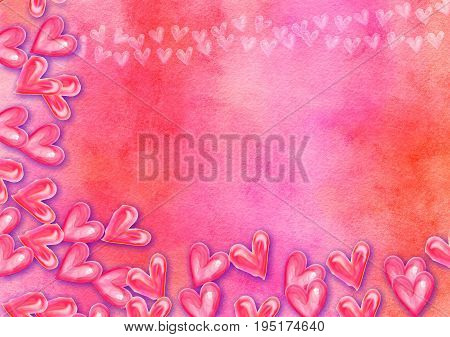 A hand made and artistic textured paper background design using blended watercolour effects and hand painted love heart shapes.