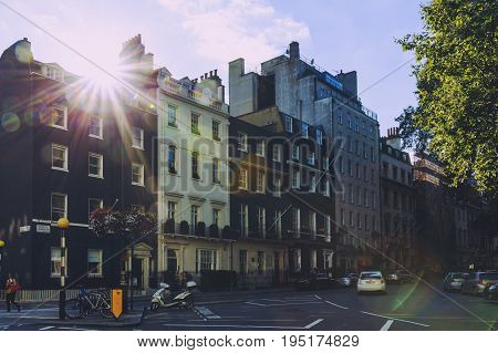 LONDON UNITED KINGDOM - August 14th 2016: Detail of beautiful buildings architecture in London city centre in the affluent Mayfair area
