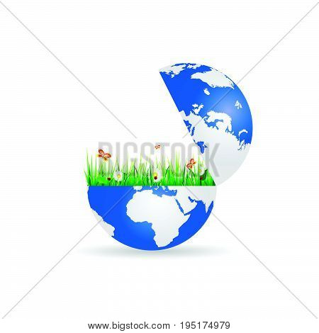Flower And Grass In Planet Earth Illustration