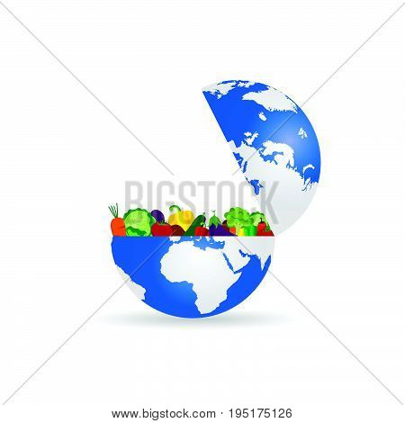 Fruit And Vegetables With Planet Earth Illustration