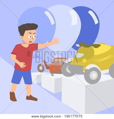 kid at toy store - funny vector cartoon illustration