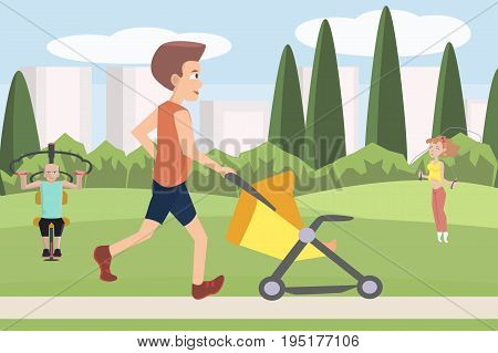 man jogging with baby carriage at park - funny vector cartoon