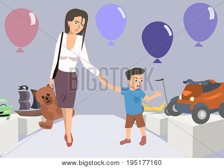 tired mom with toddler at toy store - funny cartoon vector illustration