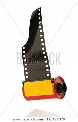 35mm camera photo film canisters isolated on white background.