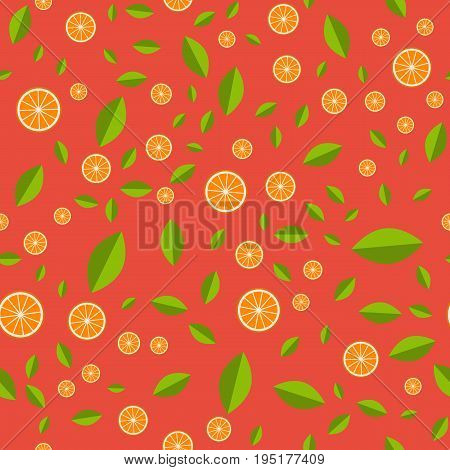 Orange pattern. Seamless pattern with orange and green leaf vector illustration for web