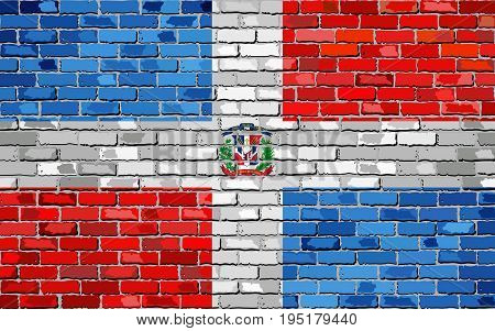 Flag of Dominican Republic on a brick wall - Illustration,  Abstract grunge background vector