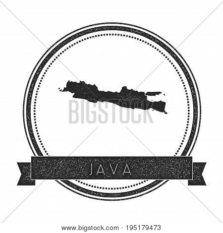 Java Map Stamp. Retro Distressed Insignia. Hipster Round Badge With Text Banner. Island Vector Illus