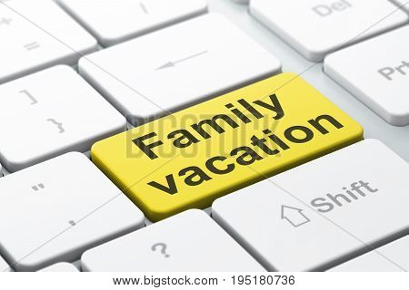 Travel concept: computer keyboard with word Family Vacation, selected focus on enter button background, 3D rendering