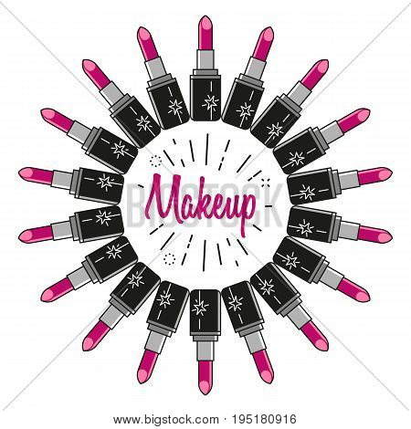 Abstract composition made of flat lipsticks located in a circle with text Makeup in the center. Vector graphic design