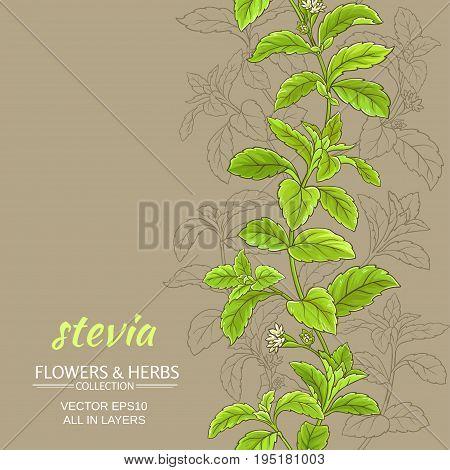 stevia leaves vector pattern on color background