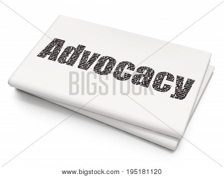 Law concept: Pixelated black text Advocacy on Blank Newspaper background, 3D rendering