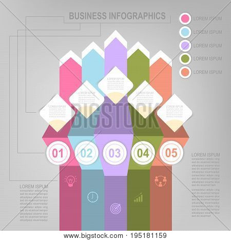 Infographic template of five steps on squares tag banner work sheet flat design of business icon vector