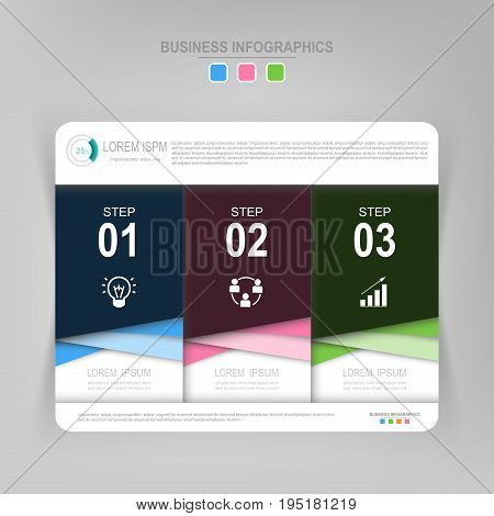 Infographic template of three steps on squares tag banner work sheet flat design of business icon vector