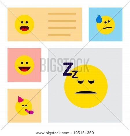 Flat Icon Emoji Set Of Tears, Party Time Emoticon, Asleep And Other Vector Objects. Also Includes Confused, Tears, Party Elements.