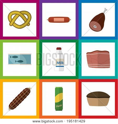 Flat Icon Food Set Of Kielbasa, Beef, Spaghetti And Other Vector Objects. Also Includes Beef, Cookie, Pie Elements.